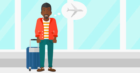 airport cartoon: An african-american man frightened by future flight on the background of airport vector flat design illustration. Horizontal layout.
