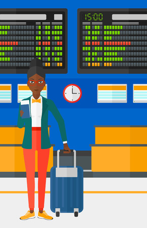 An african-american woman standing with suitcase and holding a passport with ticket in hand on the background of schedule board in airport vector flat design illustration. Vertical layout.