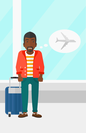 airport cartoon: An african-american man frightened by future flight on the background of airport vector flat design illustration. Vertical layout.