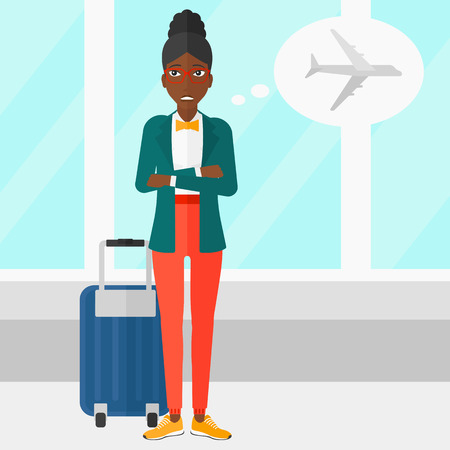 An african-american woman frightened by future flight on the background of airport vector flat design illustration. Square layout. Vettoriali