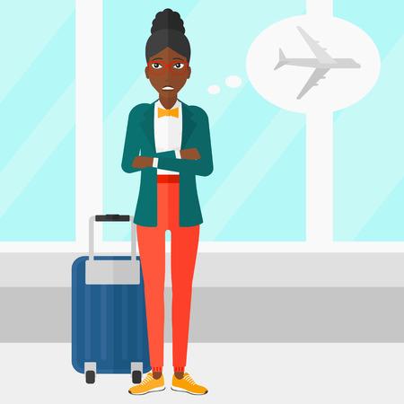 avion caricatura: Una mujer afroamericana asustado por el futuro de vuelo en el fondo del aeropuerto ilustraci�n vectorial dise�o plano. de planta cuadrada.