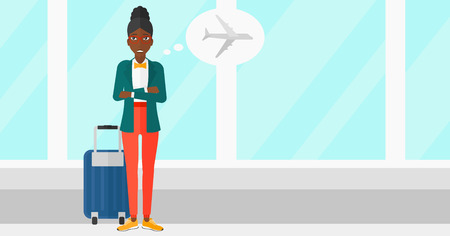 airport cartoon: An african-american woman frightened by future flight on the background of airport vector flat design illustration. Horizontal layout. Illustration