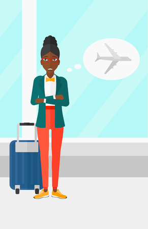 airplane window: An african-american woman frightened by future flight on the background of airport vector flat design illustration. Vertical layout.
