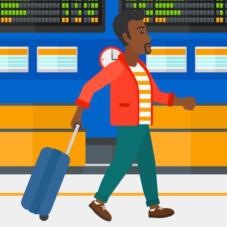 Een Afro-Amerikaanse man lopen met een koffer op de achtergrond van de programmaraad in de luchthaven vector platte ontwerp illustratie. Vierkante lay-out.