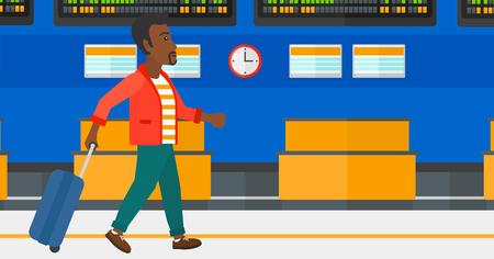 Een Afro-Amerikaanse man lopen met een koffer op de achtergrond van schema bord in de luchthaven vectorillustratie platte ontwerp. Horizontale lay-out.