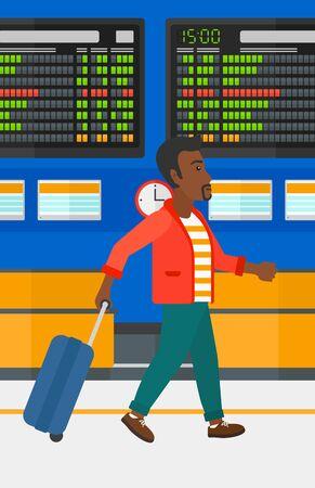Een Afro-Amerikaanse man lopen met een koffer op de achtergrond van schema bord in de luchthaven vectorillustratie platte ontwerp. Verticale lay-out.