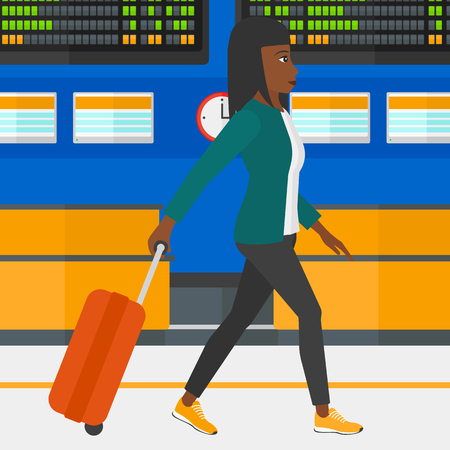 An african-american woman walking with a suitcase on the background of schedule board in airport vector flat design illustration. Square layout.