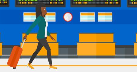 Een Afro-Amerikaanse vrouw lopen met een koffer op de achtergrond van de programmaraad in de luchthaven vector platte ontwerp illustratie. Horizontale lay-out.