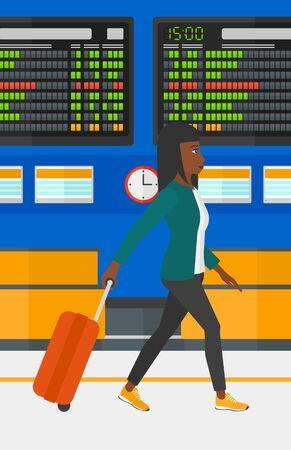 Een Afro-Amerikaanse vrouw lopen met een koffer op de achtergrond van de programmaraad in de luchthaven vector platte ontwerp illustratie. Verticale lay-out. Stock Illustratie