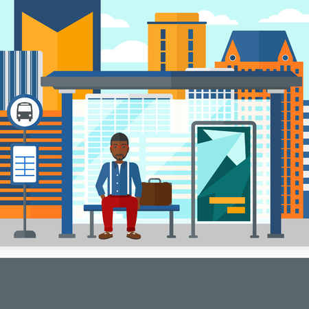 An african-american man waiting for a bus at a bus-stop on a city background vector flat design illustration. Square layout.