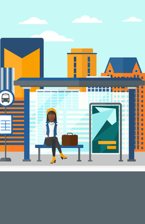 bus station: An african-american woman waiting for a bus at a bus-stop on a city background vector flat design illustration. Vertical layout.