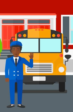 hombre caricatura: An african-american man standing in front of yellow bus on the background of the school building vector flat design illustration. Vertical layout.