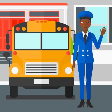 Una mujer afroamericana de pie en frente del autobús amarillo en el fondo de la ilustración del diseño plano edificio de la escuela de vectores. de planta cuadrada.
