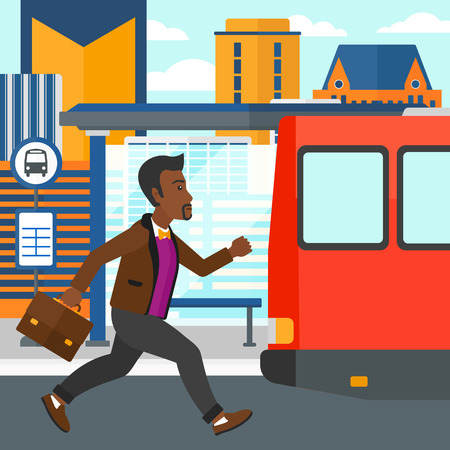 bus station: An african-american latecomer man running along the sidewalk to reach the bus on the background of bus stop with skyscrapers behind vector flat design illustration. Square layout.