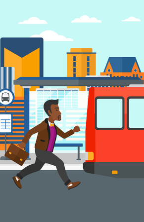 bus station: An african-american latecomer man running along the sidewalk to reach the bus on the background of bus stop with skyscrapers behind vector flat design illustration. Vertical layout.