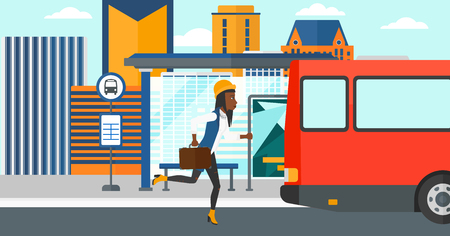 An african-american latecomer woman running along the sidewalk to reach the bus on the background of bus stop with skyscrapers behind vector flat design illustration. Horizontal layout.