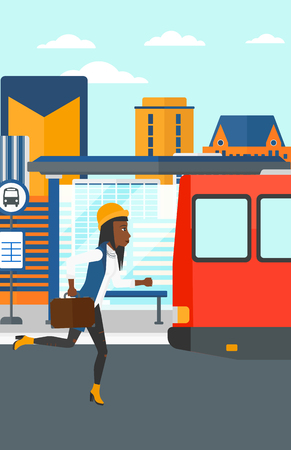 bus station: An african-american latecomer woman running along the sidewalk to reach the bus on the background of bus stop with skyscrapers behind vector flat design illustration. Vertical layout.