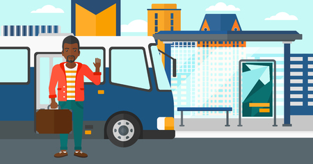 bus stop: An african-american man standing at the entrance door of bus on the background of bus stop with skyscrapers behind vector flat design illustration. Horizontal layout.