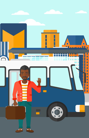 entrance door: An african-american man standing at the entrance door of bus on the background of bus stop with skyscrapers behind vector flat design illustration. Vertical layout. Illustration
