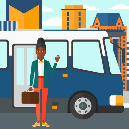 bus station: An african-american woman standing at the entrance door of bus on the background of bus stop with skyscrapers behind vector flat design illustration. Square layout.
