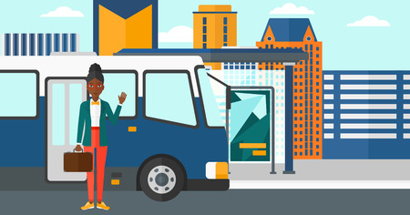hand cartoon: An african-american  woman standing at the entrance door of bus on the background of bus stop with skyscrapers behind vector flat design illustration. Horizontal layout.