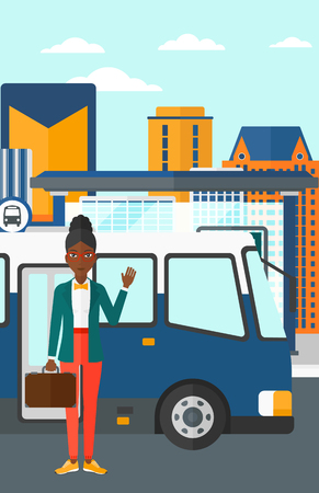 bus stop: An african-american woman standing at the entrance door of bus on the background of bus stop with skyscrapers behind vector flat design illustration. Vertical layout.