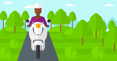 backgrounds trees: An african-american woman riding a scooter on the asphalt road on the background of forest vector flat design illustration. Horizontal layout. Illustration