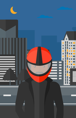 An african-american man in biker helmet on the background of night city vector flat design illustration. Vertical layout.