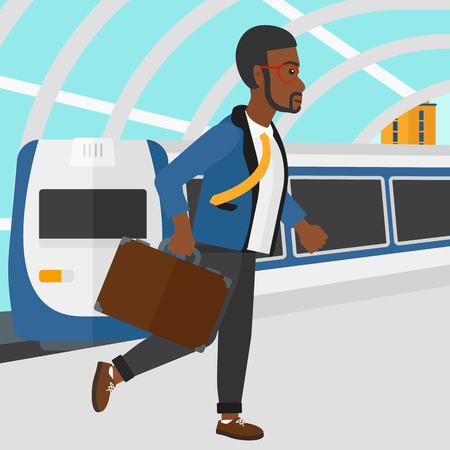 An african-american man walking on the platform on the background of modern train arriving at the station vector flat design illustration. Square layout.
