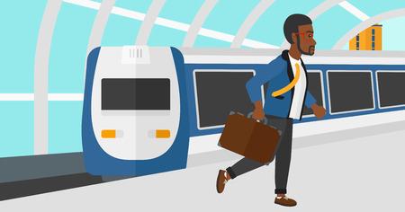 近代的な列車の到着駅ベクトルの平らな設計図の背景にプラットフォーム上を歩いてアフリカ系アメリカ人の男。水平方向のレイアウト。  イラスト・ベクター素材