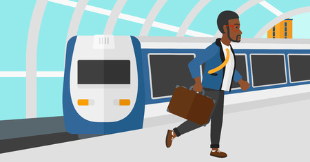 An african-american man walking on the platform on the background of modern train arriving at the station vector flat design illustration. Horizontal layout.