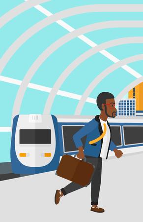 近代的な列車の到着駅ベクトルの平らな設計図の背景にプラットフォーム上を歩いてアフリカ系アメリカ人の男。縦型レイアウト。  イラスト・ベクター素材
