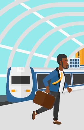 high speed train: An african-american man walking on the platform on the background of modern train arriving at the station vector flat design illustration. Vertical layout. Illustration