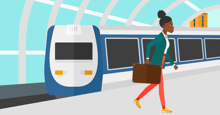 An african-american woman walking on the platform on the background of modern train arriving at the station vector flat design illustration. Horizontal layout. Illustration