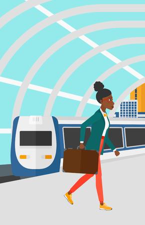 近代的な列車の到着駅ベクトルの平らな設計図の背景にプラットフォームを歩いてアフリカ系アメリカ人の女性。縦型レイアウト。  イラスト・ベクター素材
