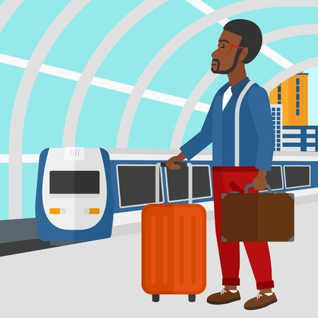 baggage train: An african-american man standing with suitcase on wheels and holding a briefcase in hand on the background of modern train arriving at the station vector flat design illustration. Square layout. Illustration