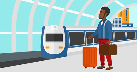 arriving: An african-american man standing with suitcase on wheels and holding a briefcase in hand on the background of modern train arriving at the station vector flat design illustration. Horizontal layout. Illustration