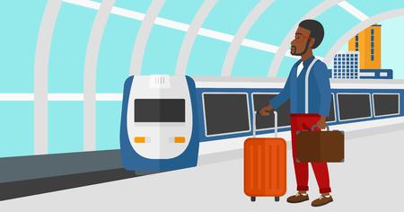hombre caricatura: Un hombre afroamericano de pie con la maleta sobre ruedas y con un malet�n en la mano en el fondo del moderno tren llegando a la estaci�n de ilustraci�n vectorial dise�o plano. disposici�n horizontal.