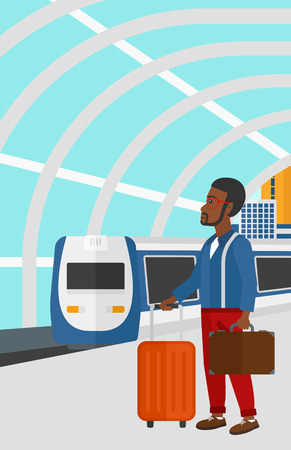 An african-american man standing with suitcase on wheels and holding a briefcase in hand on the background of modern train arriving at the station vector flat design illustration. Vertical layout. Illustration