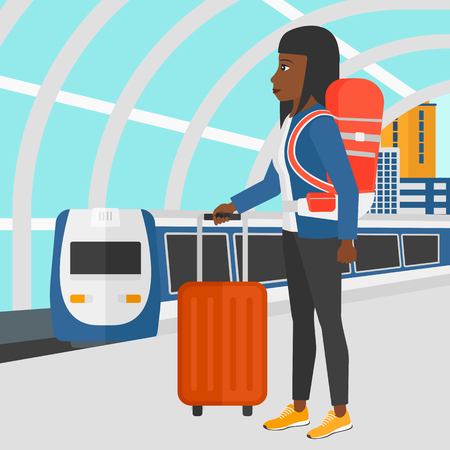 arriving: An african-american woman standing with suitcase on wheels and holding a briefcase in hand on the background of modern train arriving at the station vector flat design illustration. Square layout.