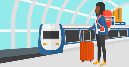 baggage train: An african-american woman standing with suitcase on wheels and holding a briefcase in hand on the background of modern train arriving at the station vector flat design illustration. Horizontal layout. Illustration