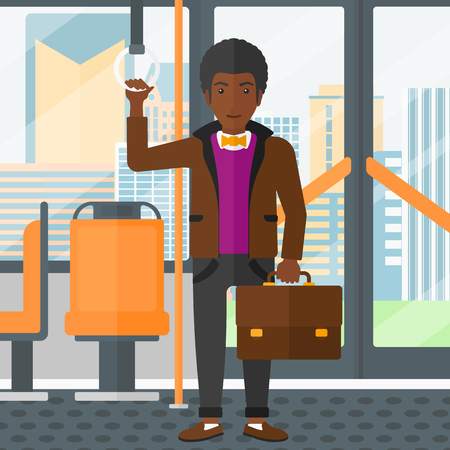 handrail: An african-american man with a suitcase standing inside public transport vector flat design illustration. Square layout.