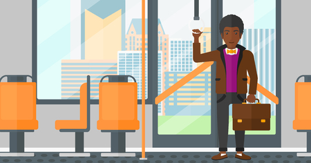 cartoon window: An african-american man with a suitcase standing inside public transport vector flat design illustration. Horizontal layout.