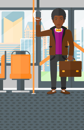 handgrip: An african-american man with a suitcase standing inside public transport vector flat design illustration. Vertical layout. Illustration