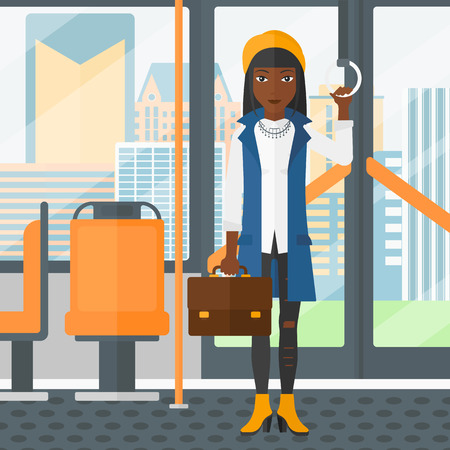 handgrip: An african-american woman with a suitcase standing inside public transport vector flat design illustration. Square layout.