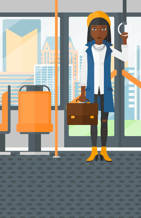 handgrip: An african-american woman with a suitcase standing inside public transport vector flat design illustration. Vertical layout.