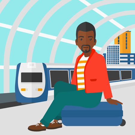 An african-american man sitting on a railway platform on the background of modern train arriving at the station vector flat design illustration. Square layout. Illustration