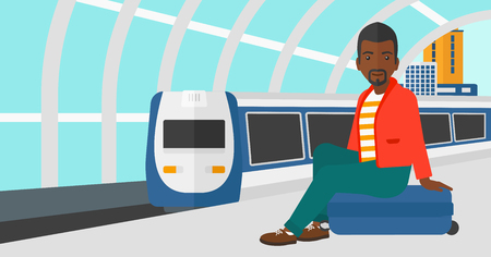 arriving: An african-american man sitting on a railway platform on the background of modern train arriving at the station vector flat design illustration. Horizontal layout. Illustration