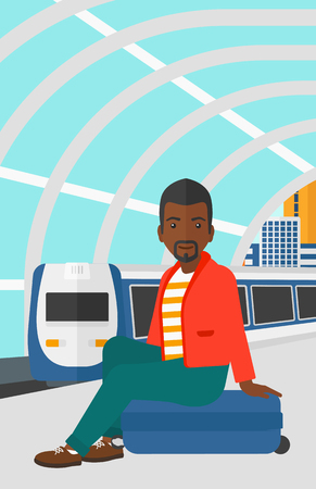 arriving: An african-american man sitting on a railway platform on the background of modern train arriving at the station vector flat design illustration. Vertical layout.