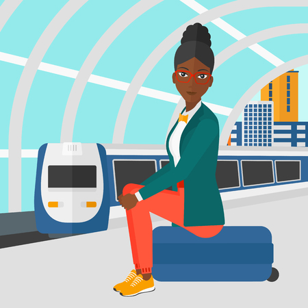 arriving: An african-american woman sitting on a railway platform on the background of modern train arriving at the station vector flat design illustration. Square layout.